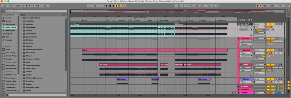 techno production ableton template screen shot